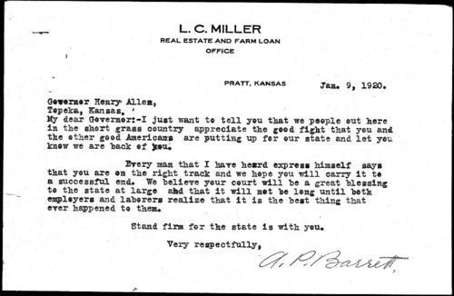 A.P.Barrett  to Governor Allen - Page