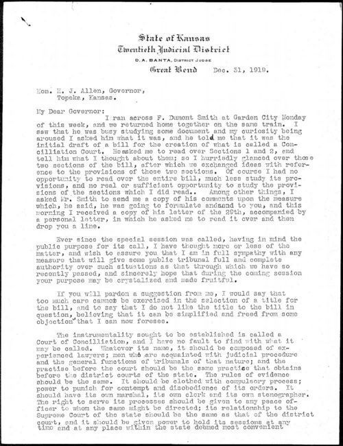 D. A. Banta to Governor Henry Allen - Page
