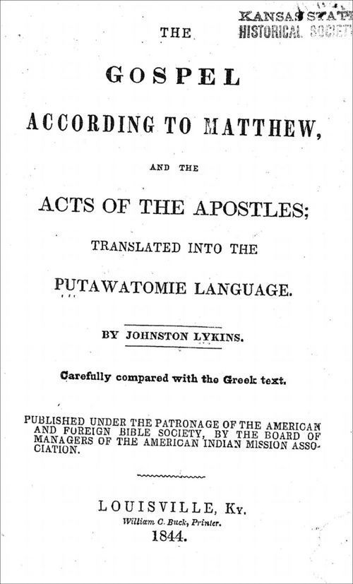 The gospel according to Mathew, and the acts of the apostles: translated into the Putawatomie [sic] langauge - Page