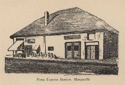 A drawing on a postcard of the Pony Express Station in  Marysville, Kansas