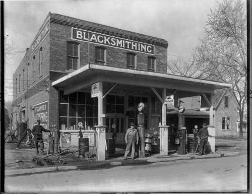 Frank Lawyer blacksmithing and service station, Iola, Kansas - Page