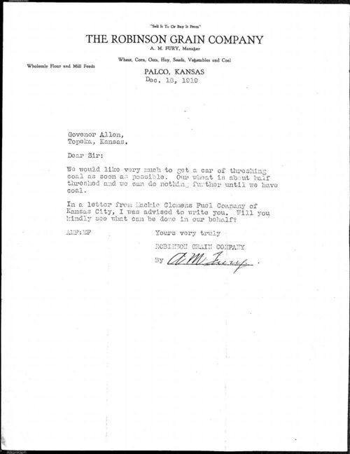 A. M. Fury to Governor Henry J. Allen - Page