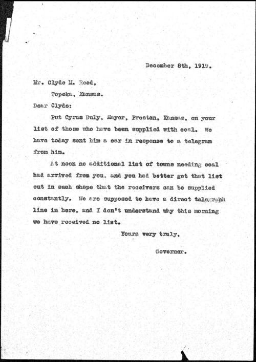 Governor Henry J. Allen to Clyde M. Reed - Page