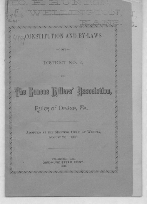 Constitution and by-laws of District Number 3 of The Kansas Millers' Association, rules of order, etc. - Page