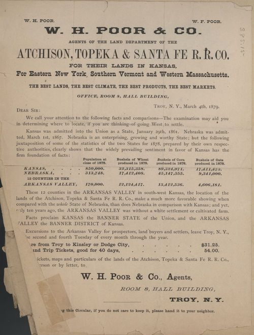 W. H. Poor and Company, agents of the land department of the Atchison, Topeka & Santa Fe Railroad Co. - Page