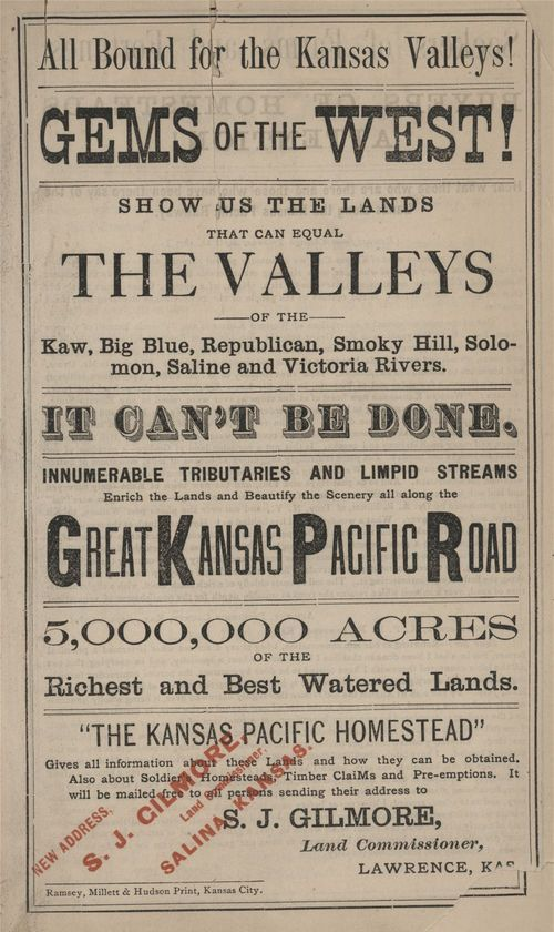 "Link to and image of Kansas Pacific Railroad land advertising brochure, ""All Bound for the Kansas Valleys!"" 1870s"
