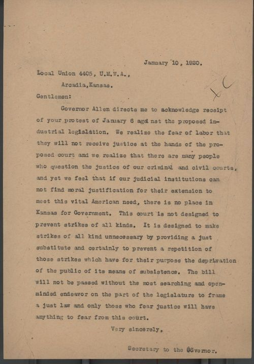 Secretary to Governor Henry J. Allen to Local Union 4405, United Mine Workers Association - Page