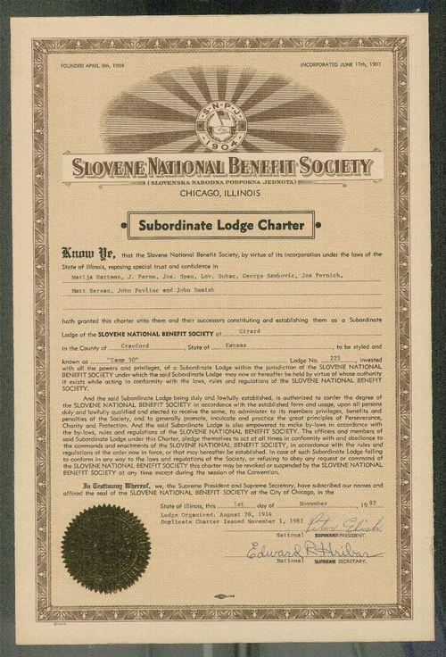 Slovene National Benefit Society, lodge no. 225, Girard, Kansas - Page