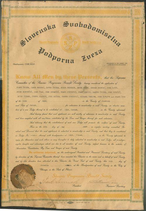 Slovene Progressive Benefit Society, lodge no. 14, Yale, Kansas - Page
