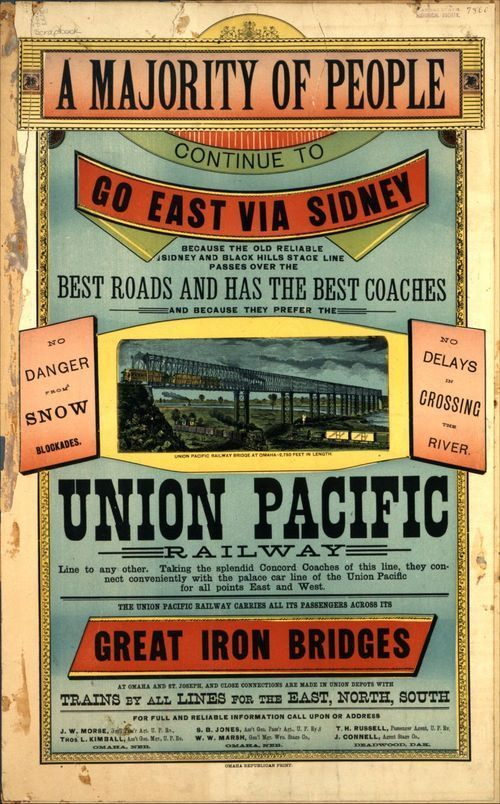 Union Pacific promotional poster, circa 1870