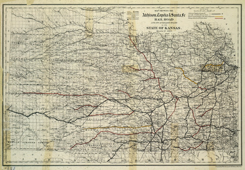 Map showing the Atchison, Topeka and Santa Fe Railroad in Kansas - Page