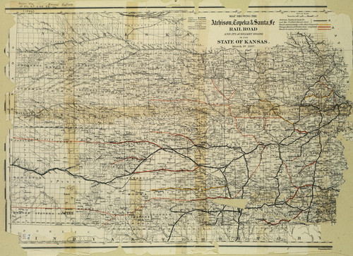 Map showing the Atchison, Topeka & Santa Fe Railroad and its auxiliiary roads in the state of Kansas - Page