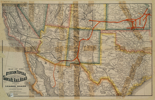 Map of the Atchison, Topeka & Santa Fe Railroad and its leased roads and connections - Page