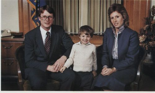Kansas Lieutenant Governor Thomas R. Docking, with his son Brian and wife Jill Sadowsky Docking, between 1982 and 1983