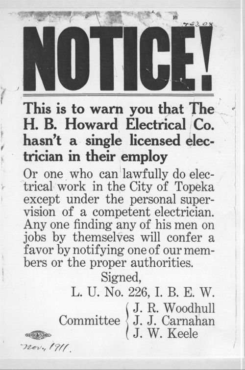 Notice!  This is to warn you that the H.B. Howard Electrical Company hasn't a single licensed electrician in their employ - Page