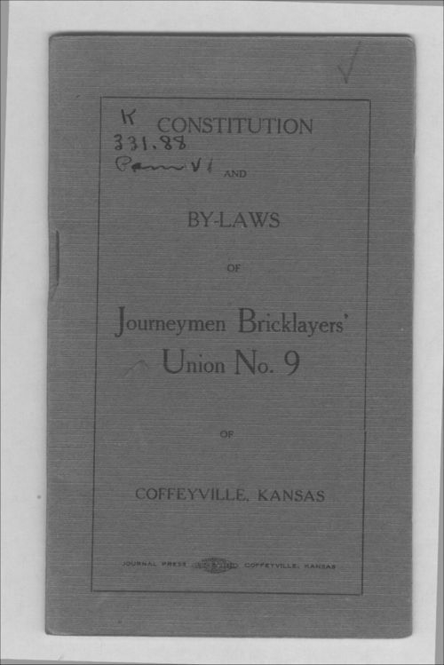 Constitution and by-laws of Journeymen Bricklayers' Union No. 9 - Page