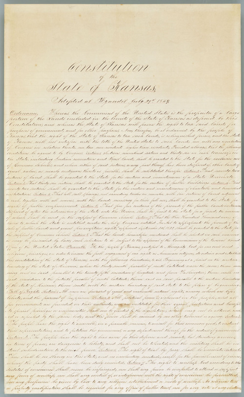 Image of and line to the official copy of the Wyandotte Constitution