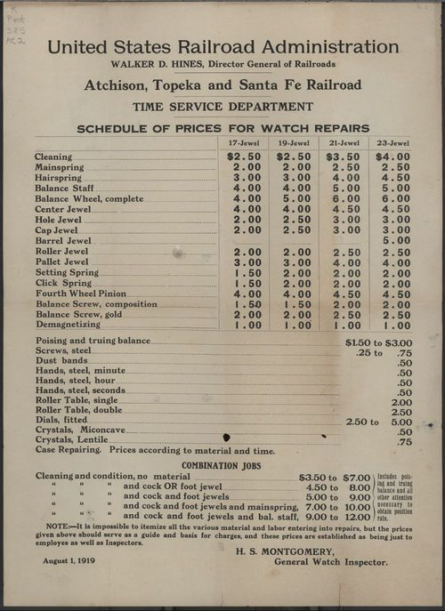 Atchison, Topeka and Santa Fe railroad schedule of prices for watch repairs - Page