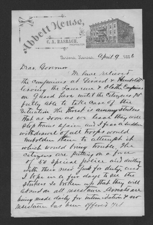 A.B. Campbell to Governor John Martin - Page