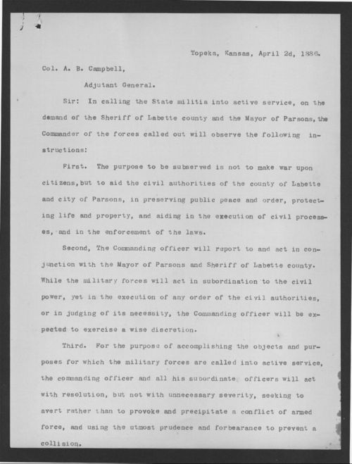 Governor John Martin to Colonel B.B. Campbell - Page
