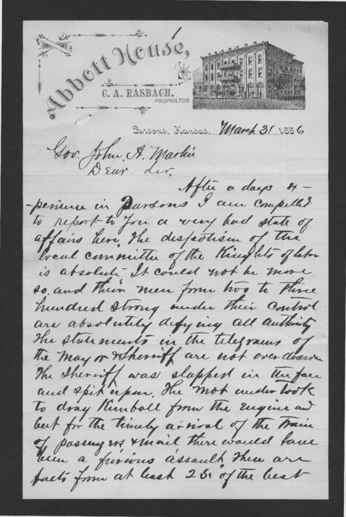 Colonel A. B. Campbell to Governor John Martin - Page