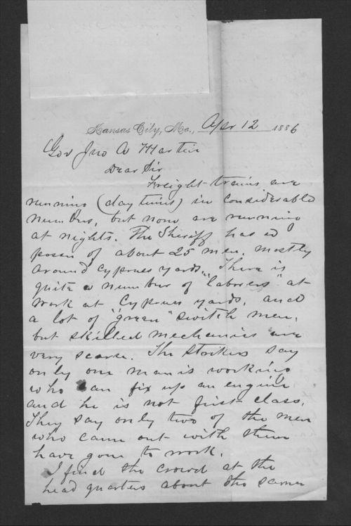 F. H. Belton to Governor John Martin - Page