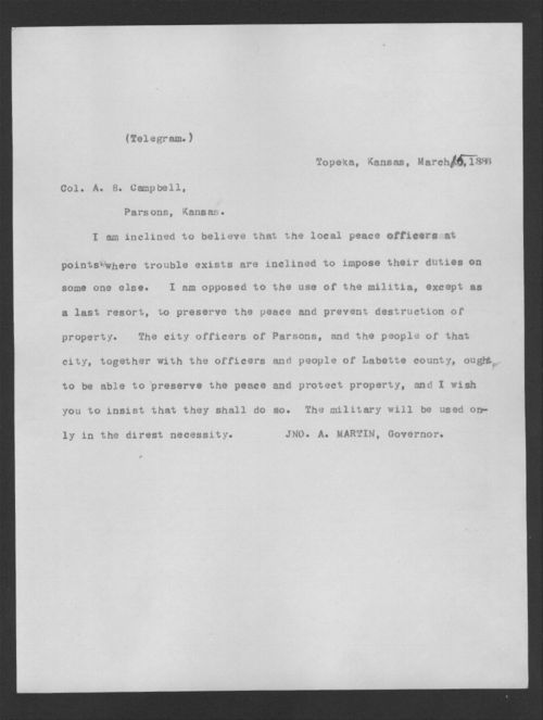 Governor John Martin to Colonel A.B. Campbell - Page