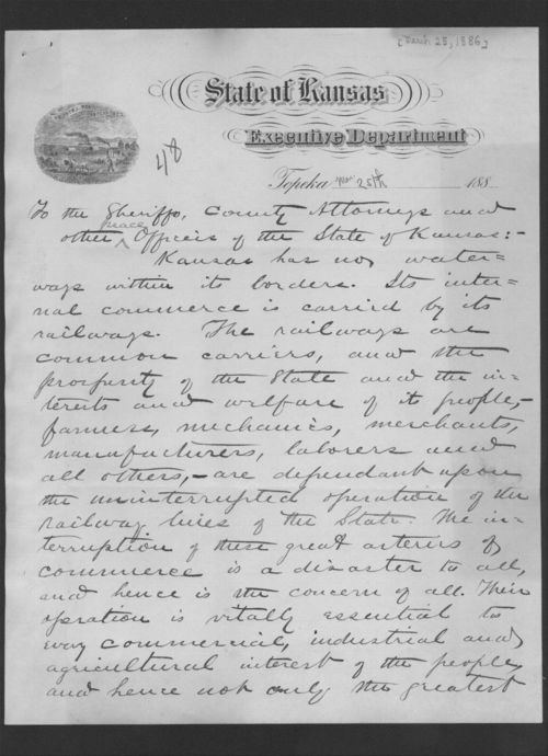 Governor John Martin to the sheriffs, county attorneys and other peace officers of the State of Kansas - Page