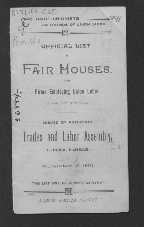 Official list of fair houses and firms employing union labor - Page