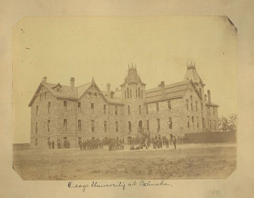 Osage students were photographed standing in front of the Osage University in Pawhuska, Indian Territory in 1877.