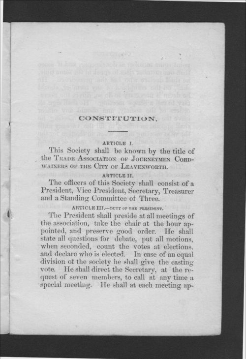 Constitution and By-Laws of the Trade Association of Journeymen Cordwainers, of the City of Leavenworth, Kansas - Page