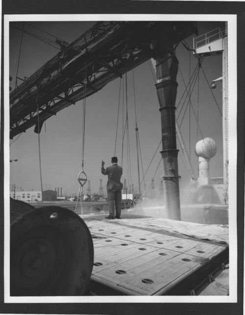 Loading potash from a conveyor to a ship at the Port of Long Beach, California - Page