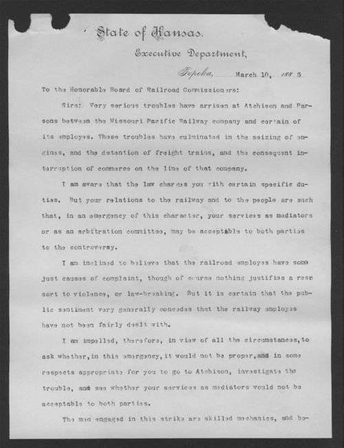 Governor John A. Martin to the Honorable Board of Railroad Commissioners - Page
