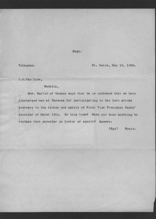 H.M. Hoxie to J.B. Van Dyne - Page
