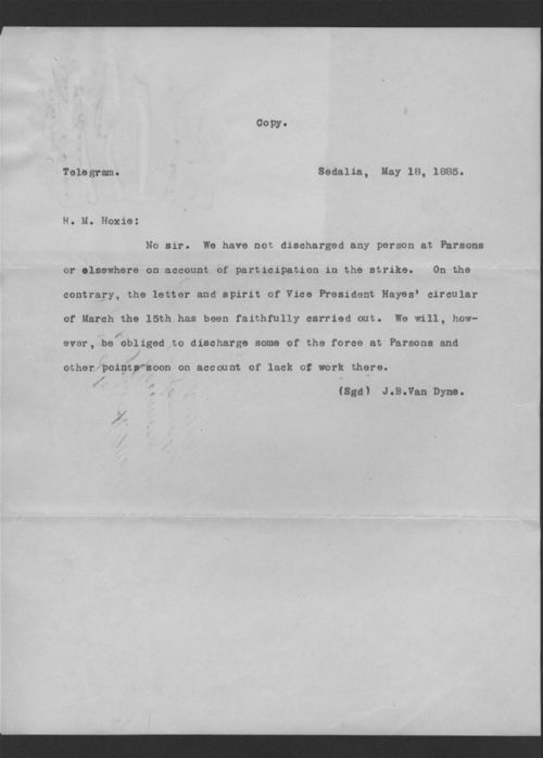 J.B. Van Dyne to H.M. Hoxie - Page