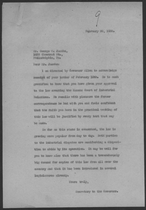 Secretary to Governor Henry J. Allen to George W. Jacobs - Page