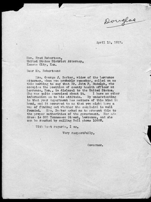 Governor Arthur Capper's slackers file - Page