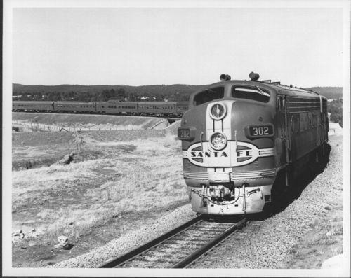 Atchison, Topeka & Santa Fe Railway Company's Super Chief passenger train near Ribera, New Mexico - Page