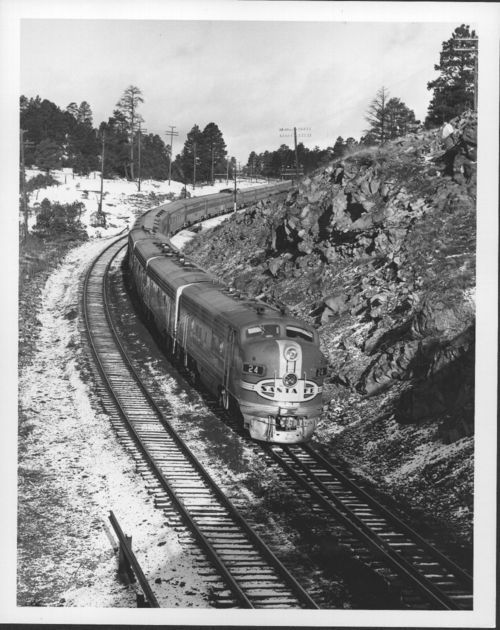Atchison, Topeka & Santa Fe railway's Super Chief traveling near Flagstaff, Arizona - Page