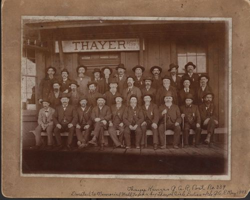Photo of the members of the Grand Army of the Republic Post No. 339 in Thayer, Kansas, between 1890 and 1910.