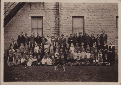 Photograph showing students and teachers at Randolph Public School, Randolph, between 1915 and 1925