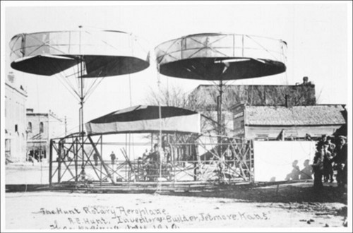 Photograph showing A.E. Hunt's Rotary Aeroplane which was built in Jetmore, Kansas, during 1910.