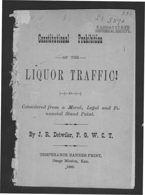 Constitutional prohibition of the liquor traffic! - Page