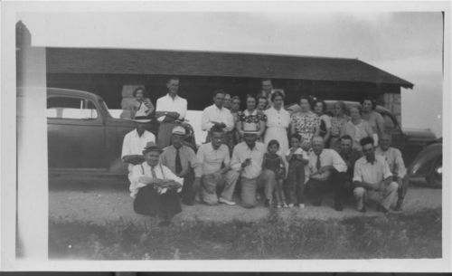 Photograph of Civilian Conservation Corps camp foreman and their families, Marion, 1937.