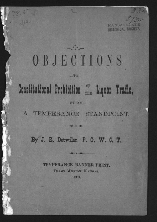 Objections to constitutional prohibition of the liquor traffic, from a temperance standpoint - Page