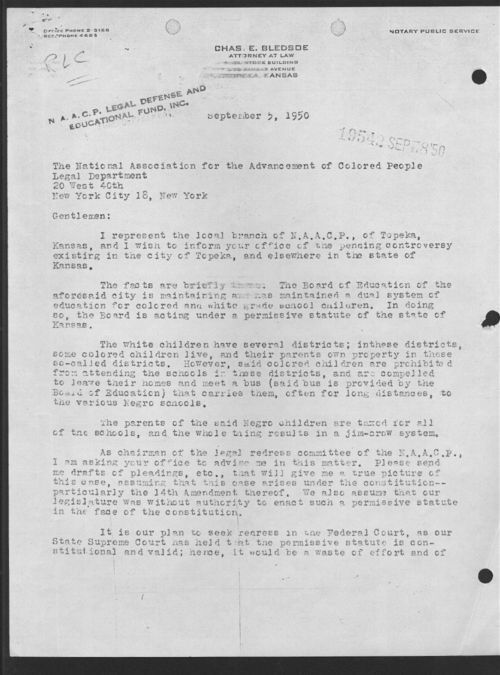 Charles E. Bledsoe to the NAACP Legal Department - Page