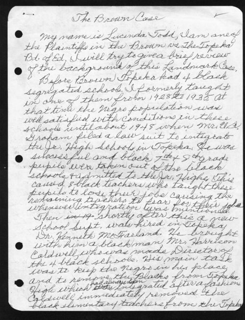 Lucinda Todd: handwritten draft of the background of the Brown case - Page