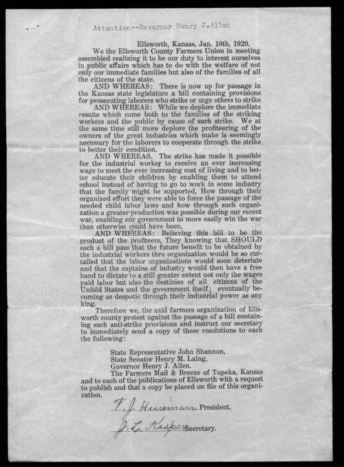 F. J. Huseman to Governor Henry Allen - Page