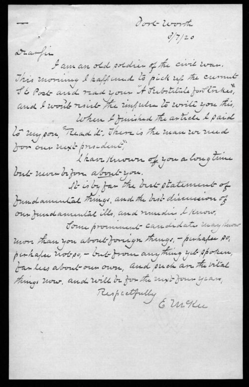 E.McKee to Governor Henry Allen - Page