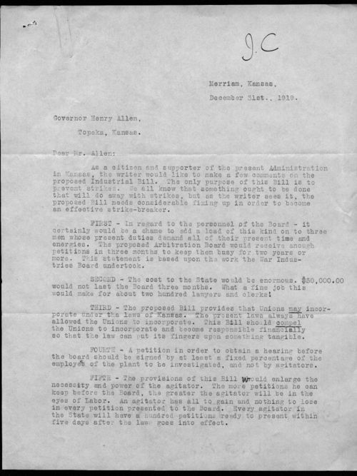 A.M. Meyers to Governor Henry Allen - Page
